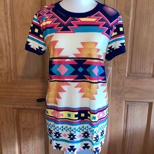 NWT L LLR Multicolored Aztec Printed Liv Tee